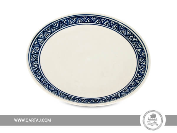 White ceramic plate with blue, wholesale Tunisia Handicrafts