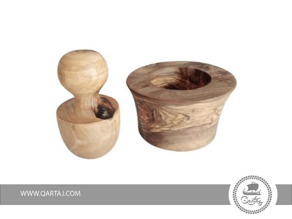 qartaj olive wood mortar and pestle mushroom design