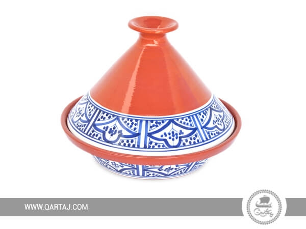 Tunisian Round Tajine with blue patterns, buy white label products