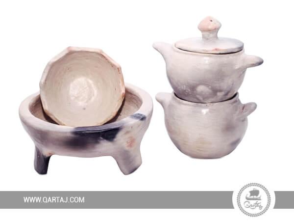 Set of Sajnen : A couscous maker ; A plate and A bowl