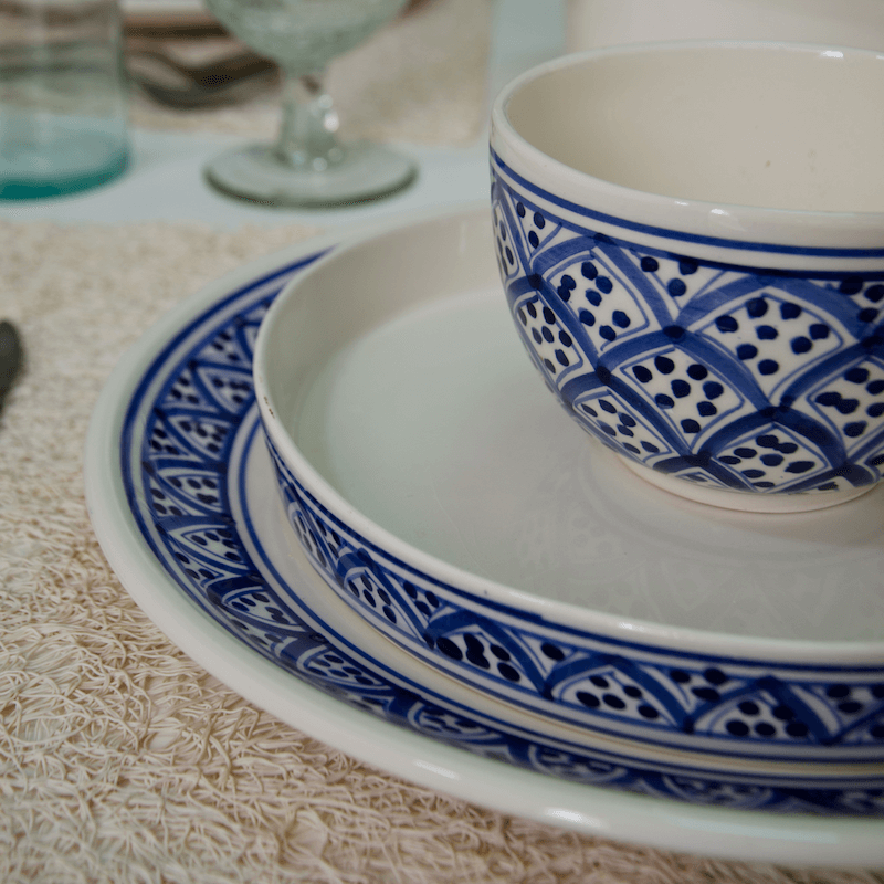 Tableware Nabeul Ceramics Azouz Blue of Sidi Bou Said Tunisia