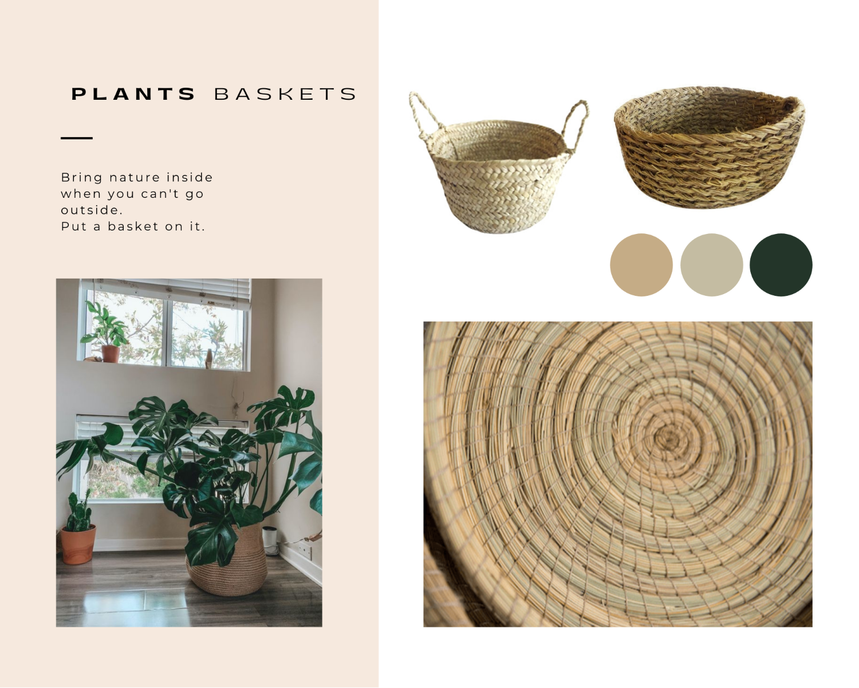 blogpost quarantaine life moodboard baskets plants monstera pinterest natural halfa fiber boho